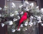 Christmas Wreath Cardinal Christmas Swag Bird Nest White Simple Snowy Winter Door Decoration