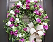 Spring Wreath Summer Wreath Burlap Bow Azalea Garden Front Door Wreath