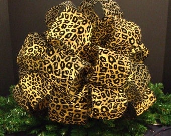 Leopard Tree Topper, Christmas Tree Bow Topper, Leopard Bow Topper, Large Christmas Bow Topper, (4) 8 ft Streamers
