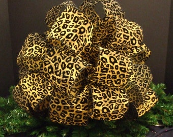 Black and Gold Leopard Tree Topper, Christmas Tree Bow Topper, Leopard Bow Topper, Large Christmas Bow Topper, (4) 8 ft Streamers