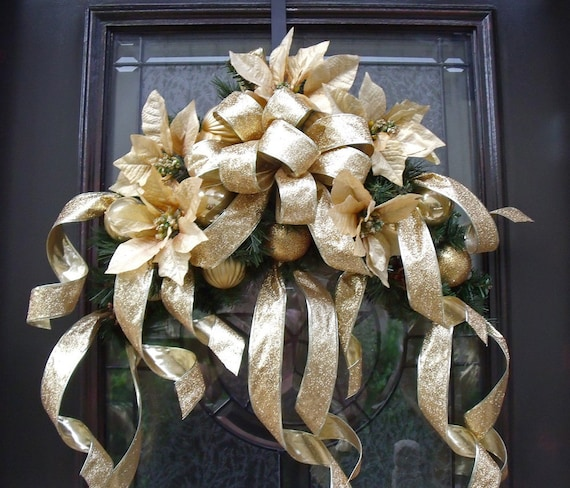 Christmas Swag Gold Glitter Christmas Wreath Door Wall Decoration Mantle