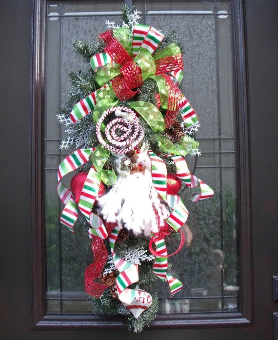 Christmas Wreath Teardrop Santa Snowflake Christmas Swag Door