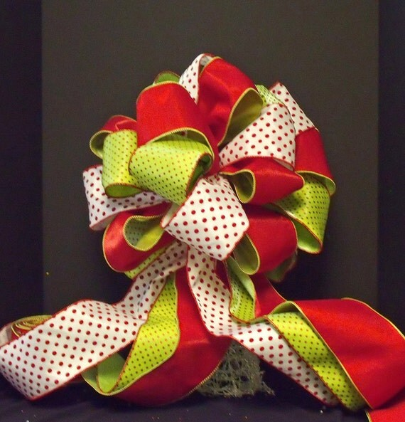 bow christmas tree topper designer ribbon christmas by luxewreaths. Black Bedroom Furniture Sets. Home Design Ideas