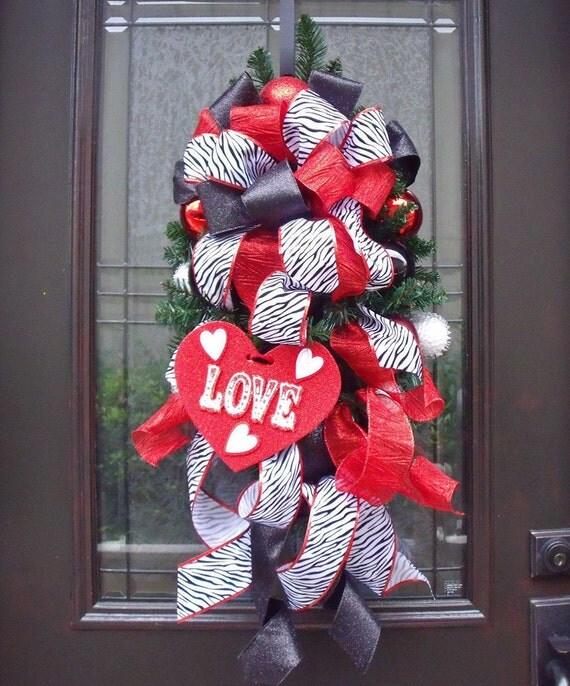 Valentine Wreath Zebra Valentine Swag Decoration