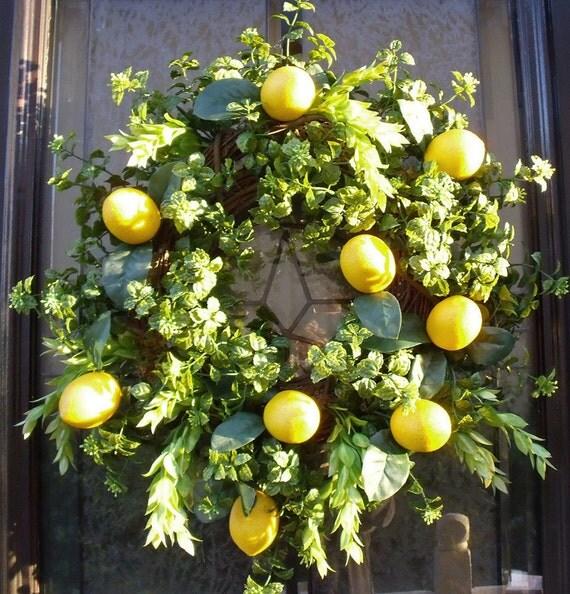 Spring Wreaths Lemon Wreath Kitchen Wall Decor Door Wreaths