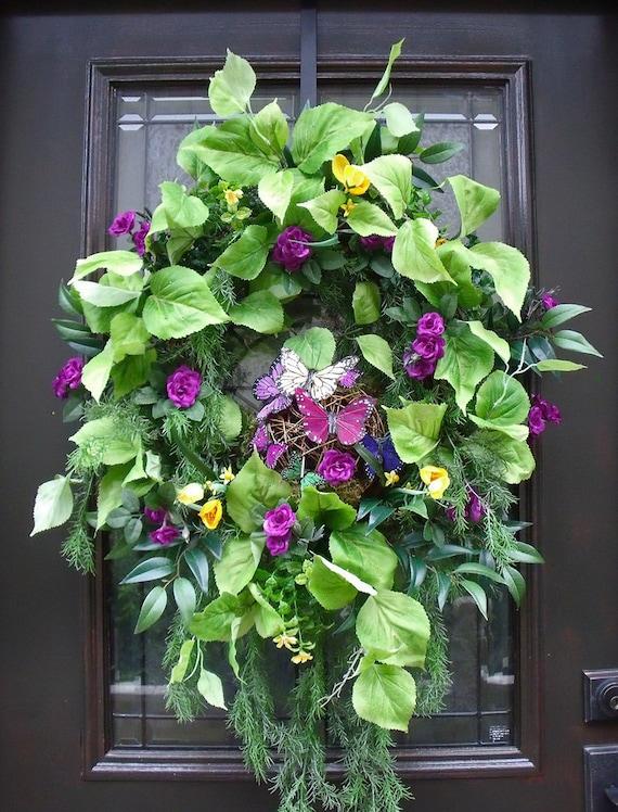 Butterfly Wreath Spring Wreath Door Wreath Wall Floral Arrangement Purple Summer Wreath Door Decoration