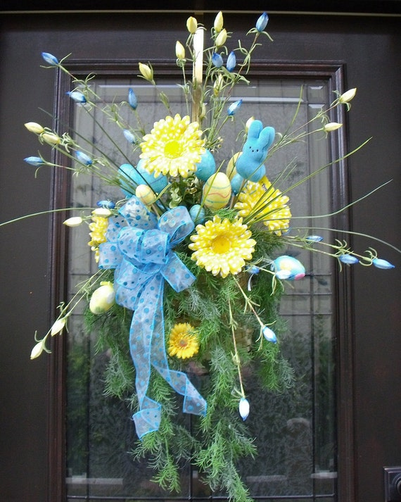 Items similar to easter wreath spring wreath easter wall Spring flower arrangements for front door
