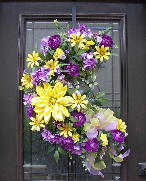 Spring Wreath Easter Wreath Spring Floral Arrangement Wall Crescent ...