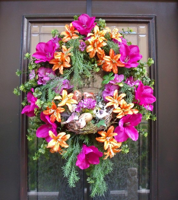 Spring wreath summer wreath colorful front door by luxewreaths for Colorful summer wreaths