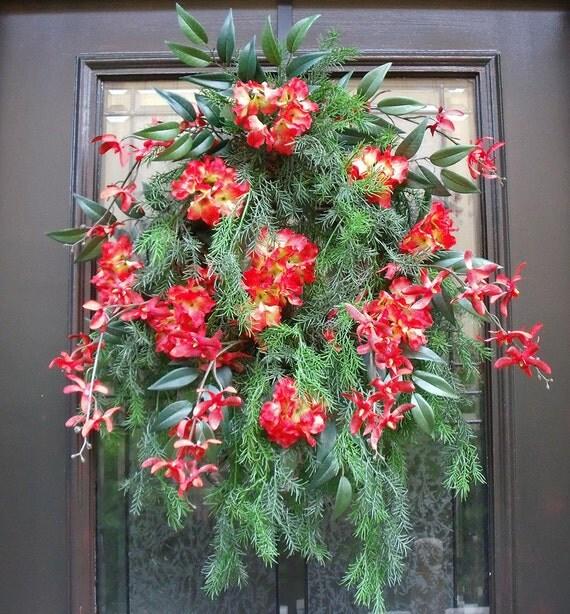 Summer Door Wreath Orchid Wreath Summer Wreath Floral Door Decoration Red