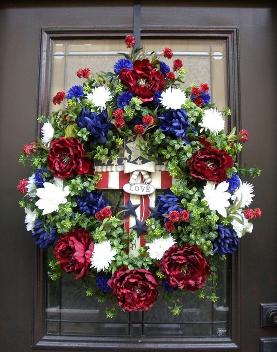 Fourth Of July Wreath 4th of July Wreath Patriotic Door Wreath Americana Cross Decoration Patriotic Wreath