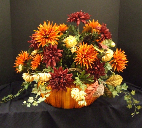 Fall Floral Arrangement - Pumpkin Centerpiece- Fall Table Decoration - Autumn Floral Arrangement