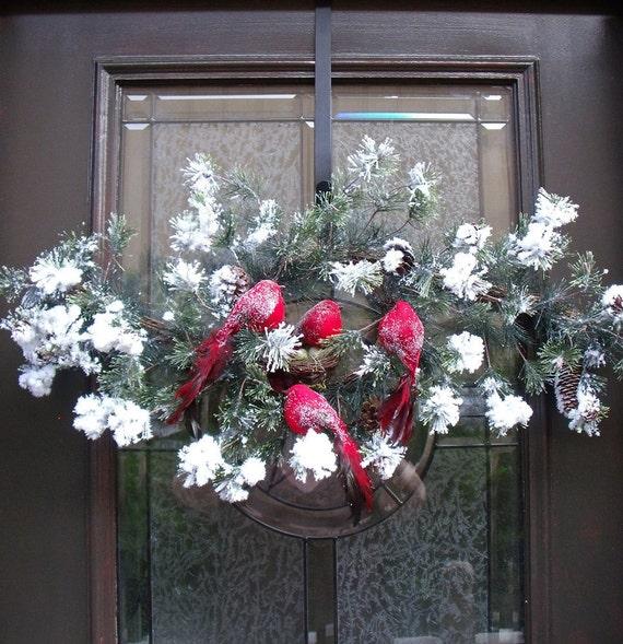 Winter Swag Christmas Wreath Winter Door Wreath Christmas Vertical Swag Red Snow Birds Nest