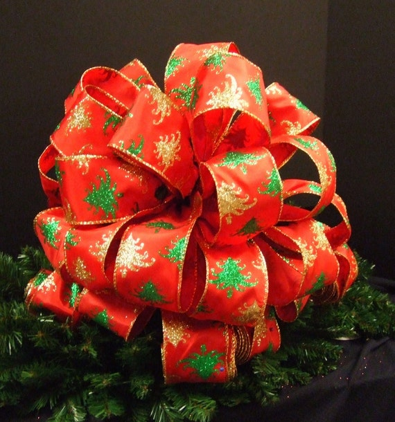 Christmas Tree Topper Bow, Christmas Bow Topper, Tree Top Bow, Red Christmas Tree Ribbon Large (4) 8 ft Streamers