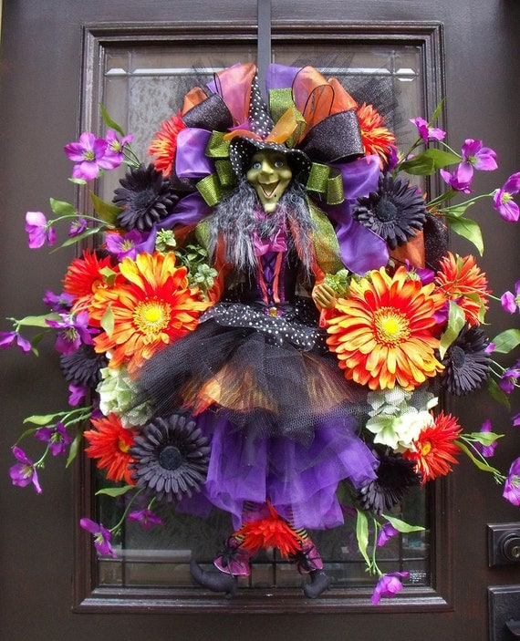 Witch Wreath Designer Halloween Wreath Door Wreath Fall Wreath Green With Envy Witch Halloween Decoration XL Wreath