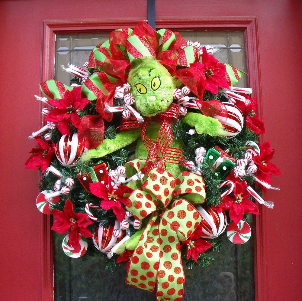 Christmas Wreath Grinch Candy Designer Front Door Decoration