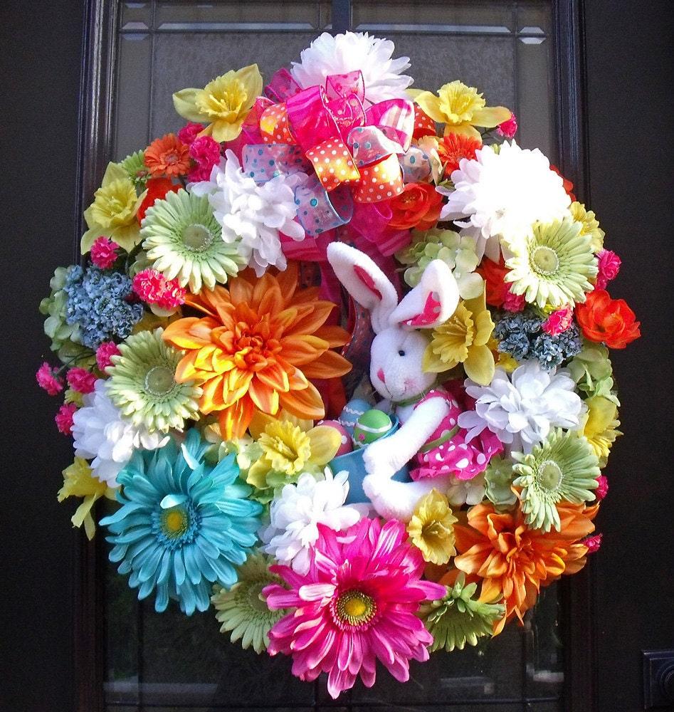 easter wreath spring wreaths bunny wreath conni spring
