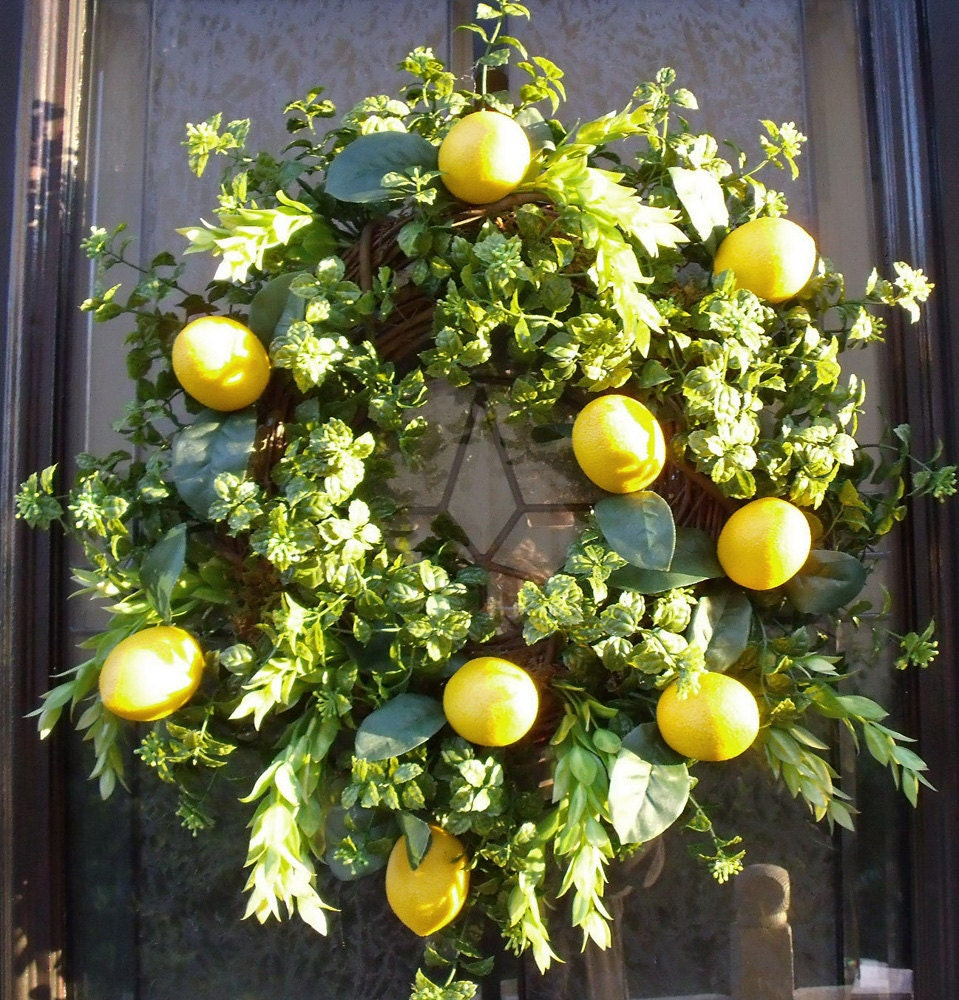 Spring Wreaths Lemon Wreath Kitchen Wall Decor Door Wreaths