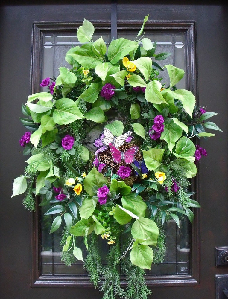 Butterfly wreath spring wreath door wreath wall floral Spring flower arrangements for front door