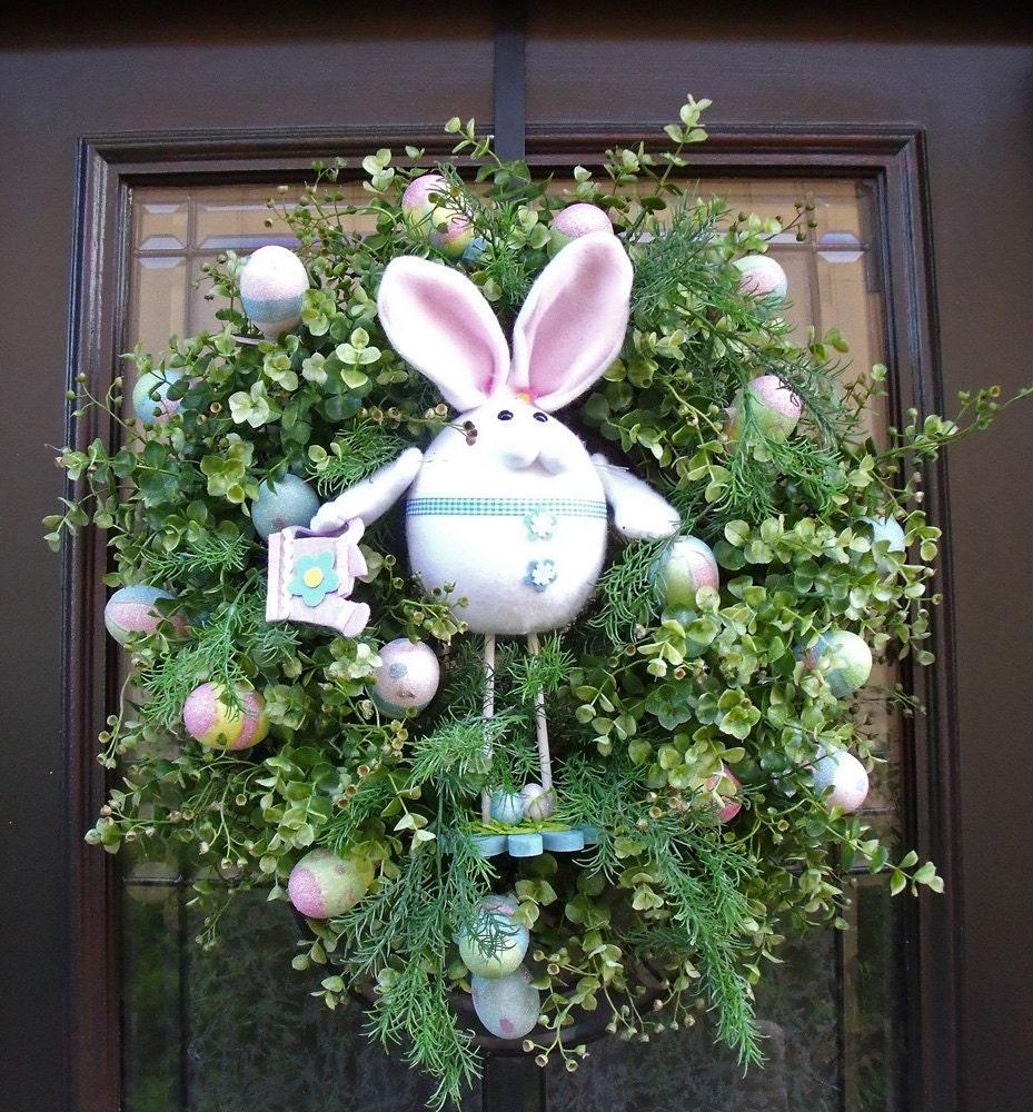 easter wreath spring wreath front door wreath pastel bunny and. Black Bedroom Furniture Sets. Home Design Ideas