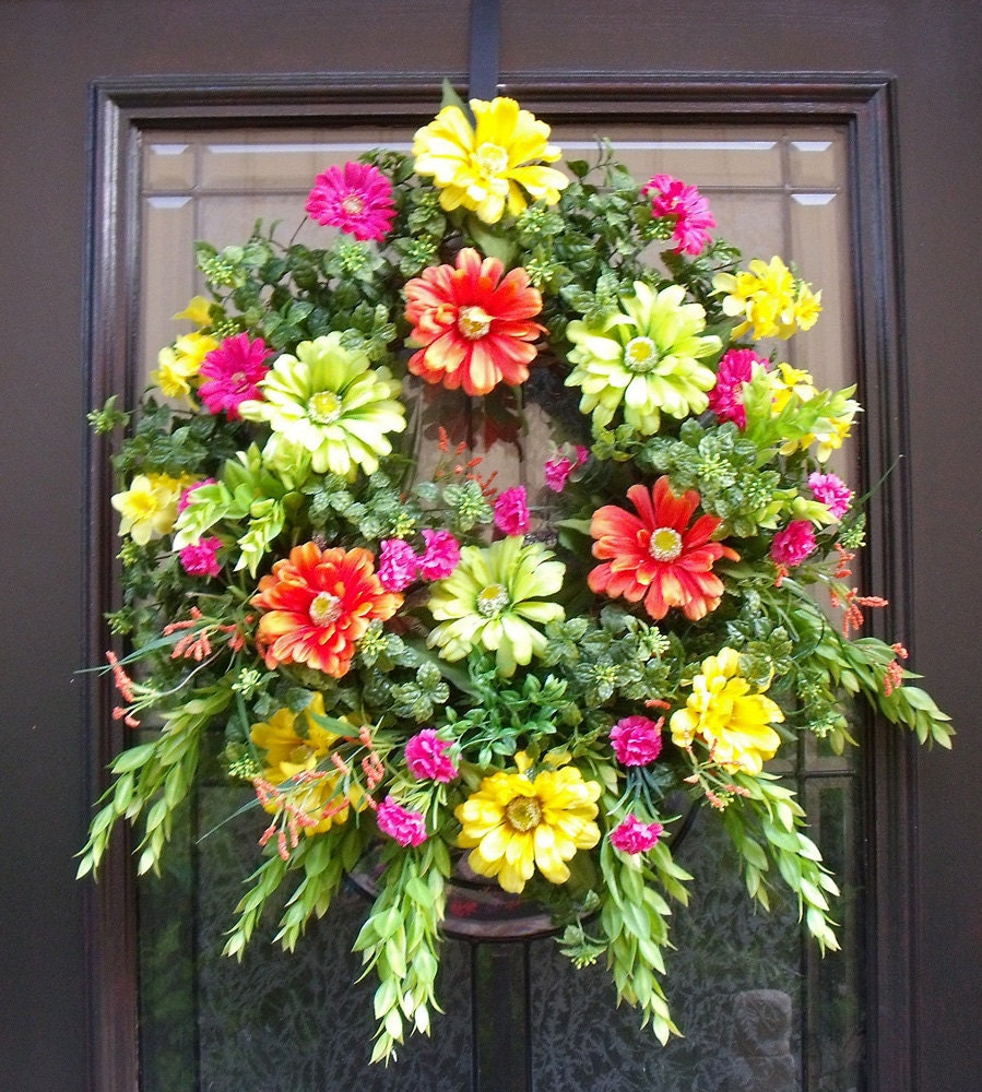 Spring wreaths summer wreath front door wreath colorful wall Spring flower arrangements for front door