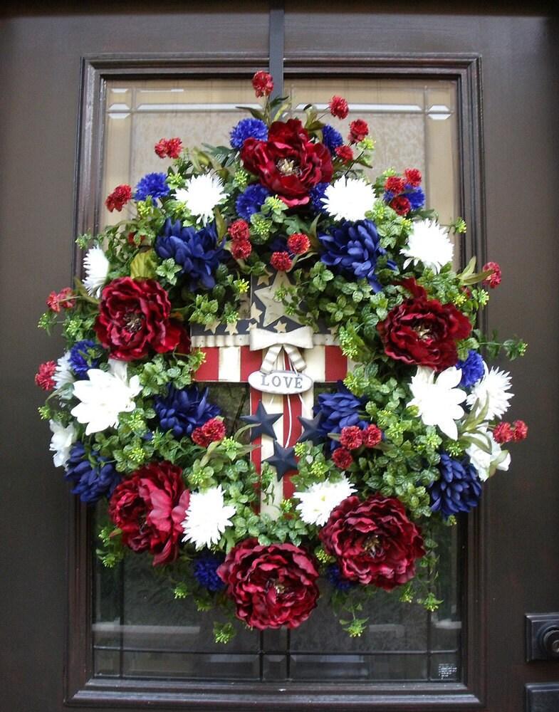 Fourth Of July Wreath 4th Of July Wreath Patriotic Door Wreath