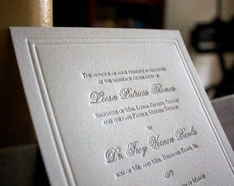 Classic Letterpress Wedding Invitation Sample