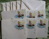 Writing by Candlelight Vintage Stationery set of 6 from 1950s