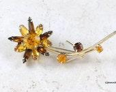 Vintage Brooch Juliana Style w Amber Glass Rhinestones