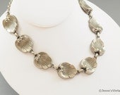 Vintage Seashell Necklace Silver Tone Metal Heavy Weighted