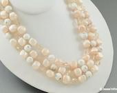 Multi Strand MadMen Necklace w Peach & White Beads