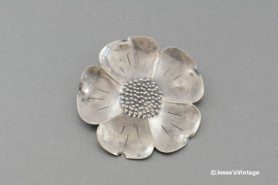 Stuart Nye Silver Cherokee Rose Brooch Signed