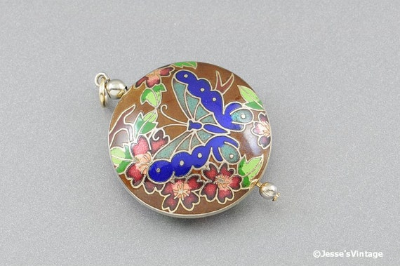 Reserved for Dot... Cloisonne Pendant w Butterfly Floral Motif
