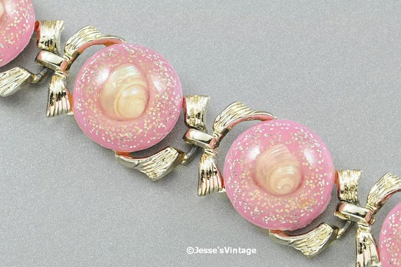RESERVED for Naiyad / Maria  Vintage Pink Confetti Bracelet w Seashells