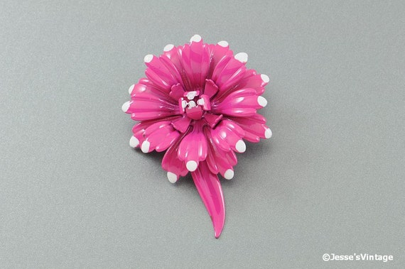 Enamel Flower Brooch Pin Pink w White Accents