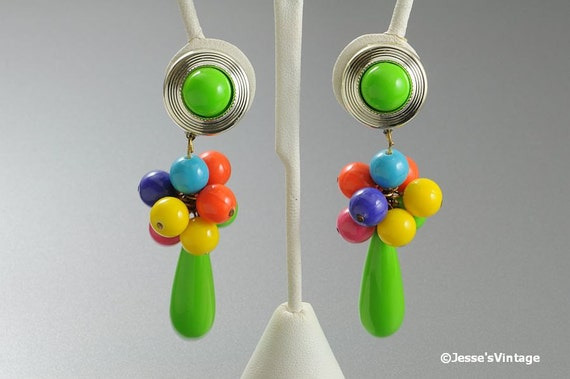 Eighties Earrings w Large Dangle Multi Color Beads Chunky