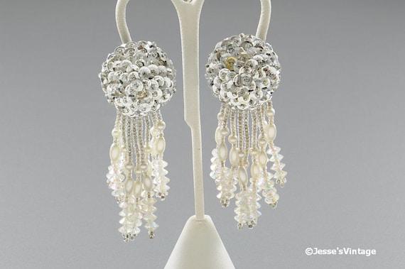 Vintage Earrings w Silver Sequin & Dangles