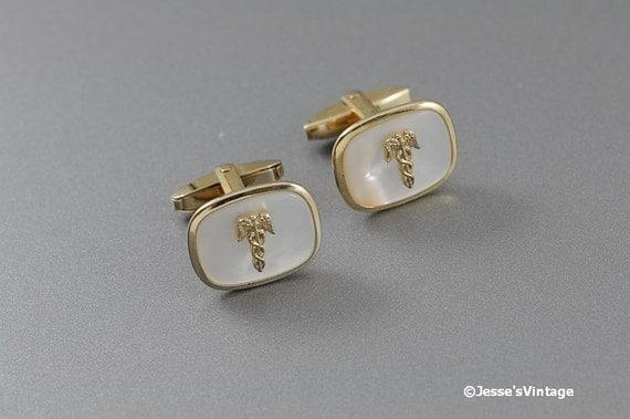 Vintage Cufflinks w Caduceus Medical Symbol & MOP