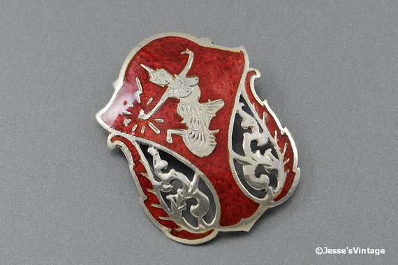 Siam Sterling Brooch Red Enamel Goddess 1940s