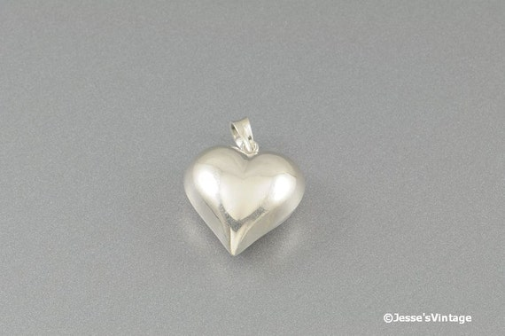 Sterling Heart Pendant or Charm Vintage Puffy Signed