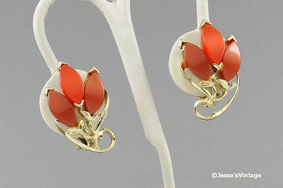 Vintage Earrings Orange Brown & Copper Thermoset