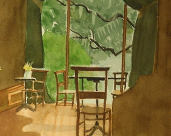 watercolor painting of Gryphon Tea Room in Savannah