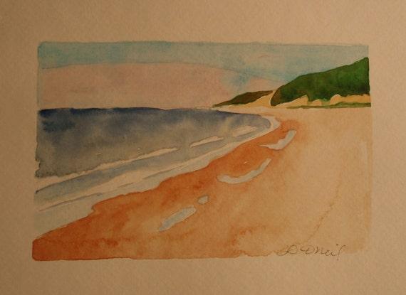 Beach scene handpainted card