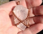 Reiki Infused - Copper Wire Wrapped - Natural Raw Clear Quartz Crystal Point - Pendant - Handmade - Jewelry - Raw Single Terminated Crystal