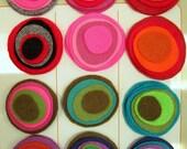 multi color felt magnetic button/brooch - flat, different colors