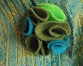 multi color felt magnetic brooch - teal, olive green, electric green