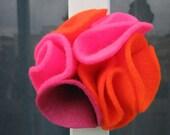 multi color felt magnetic brooch - orange, rose, bright fuchsia