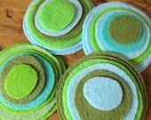 Felt magnetic button/brooch- a mix of Aqua, Army Green, Powder Blue,Chartreuse Green