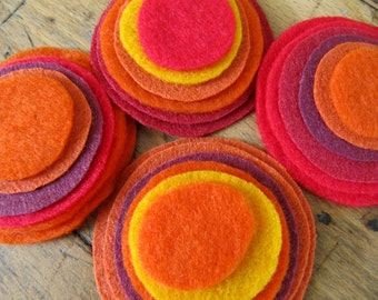 Felt magnetic button/brooch - a mix of  Red, Orange, Maroon, Yellow