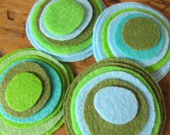 Felt magnetic button/brooch- a mix of Aqua, Army Green, Powder Blue,Chartreuse Green